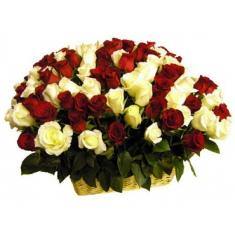 "Basket ""101 red and white rose"""